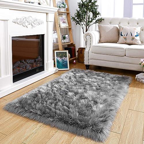 Terrug Ultra Soft Shag Bedroom Rugs,Luxury Gray Faux Fur Sheepskin Area Rug