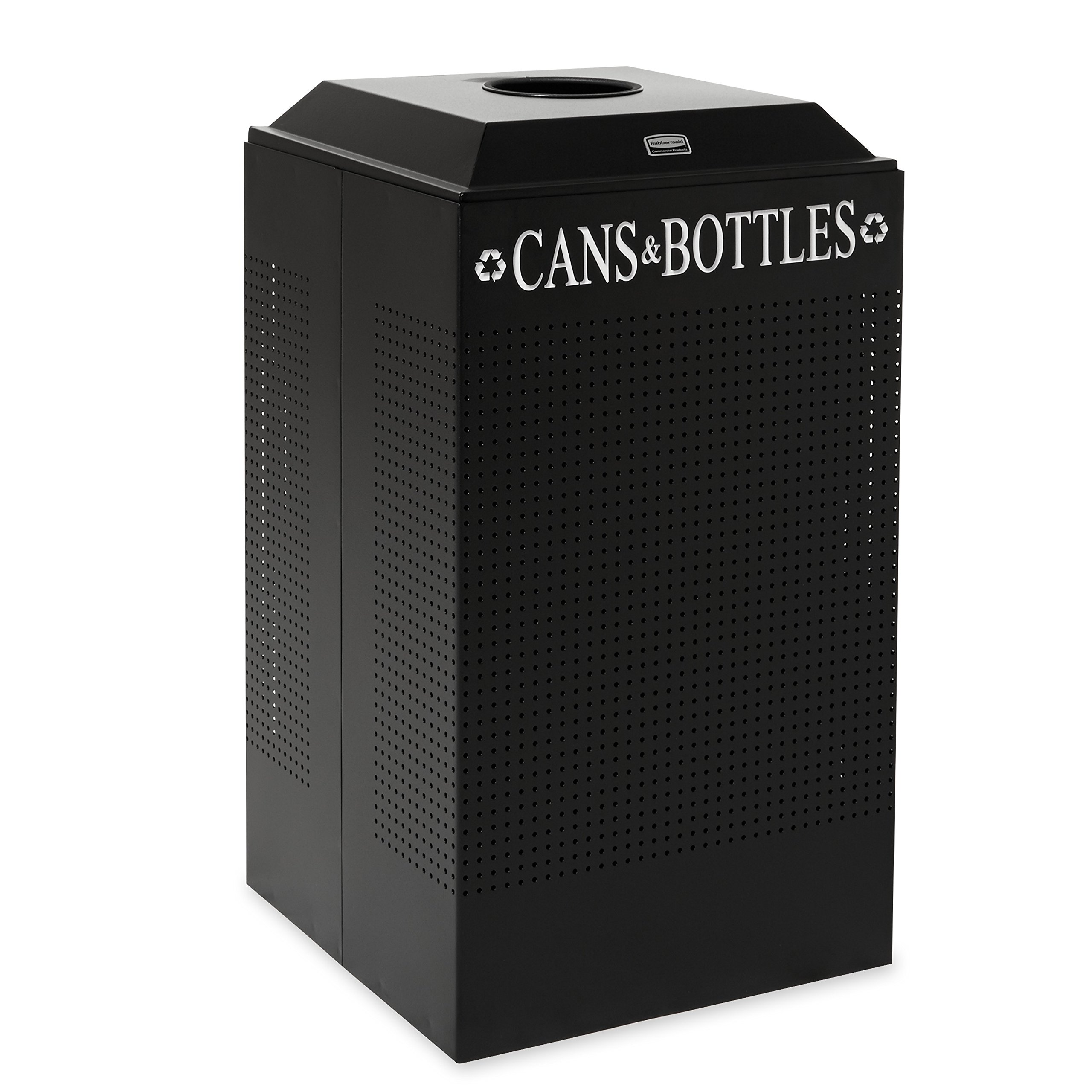 Rubbermaid Commercial Steel 29-Gallon Silhouette Recycling Receptacle for Cans Bottles, Legend -InchCans Bottles-Inch, Square, Black
