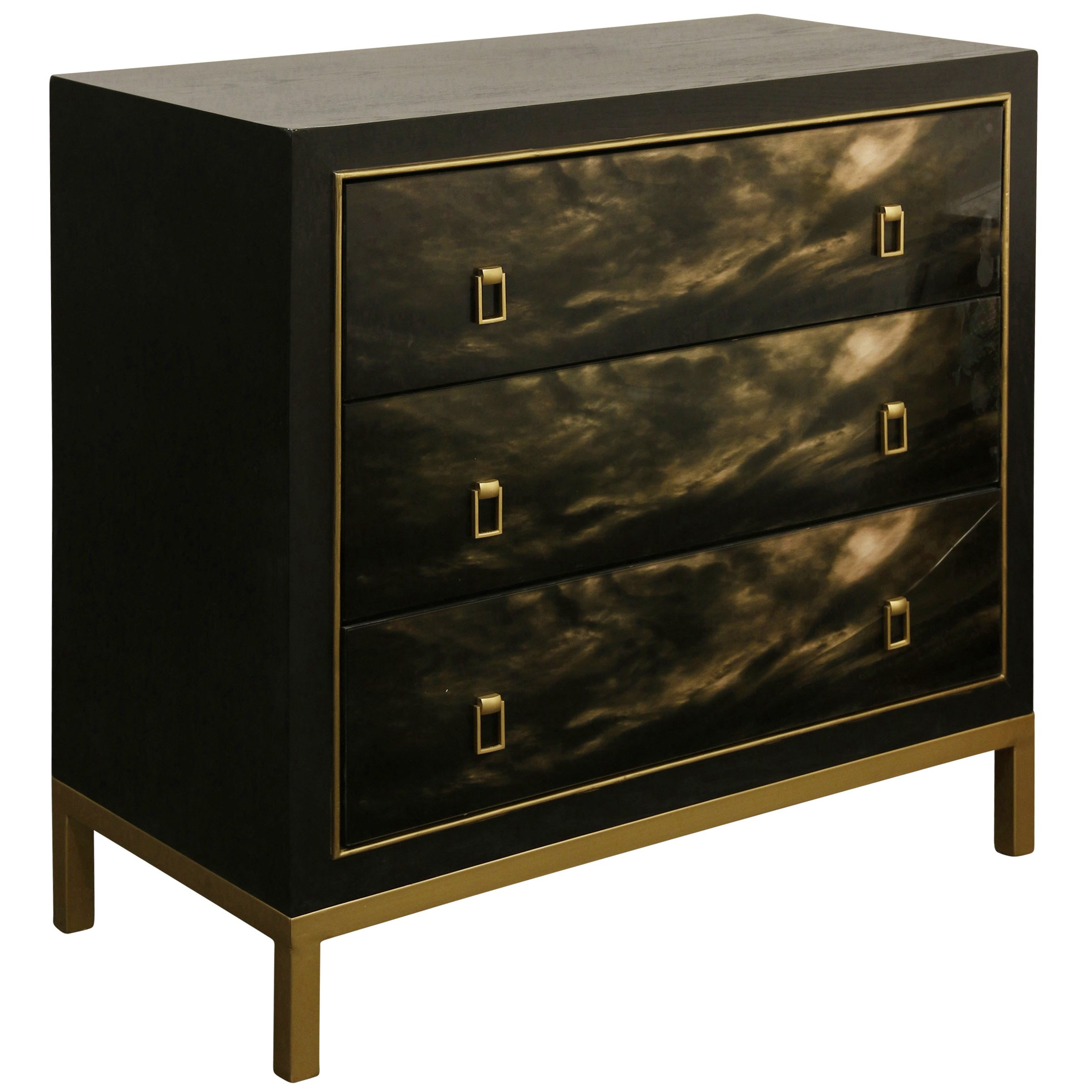 GwG Outlet 3-Drawer Chest in Satin Black Enamel Exterior Finish