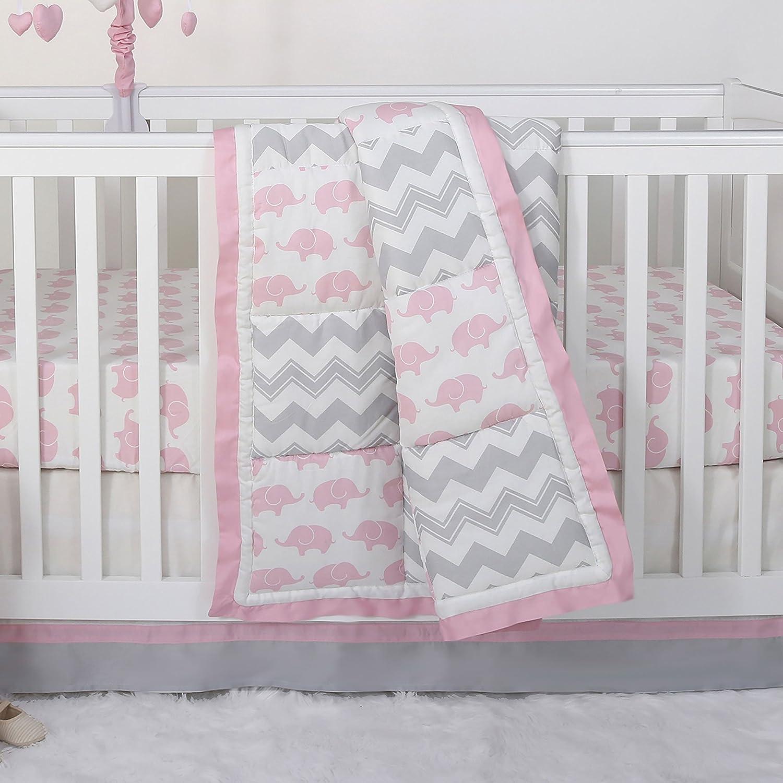 Pink Elephant and Grey Chevron Patchwork 3 Piece Crib Bedding Set - Peanut Shell The Peanut Shell FARPKELEGYZZBED3