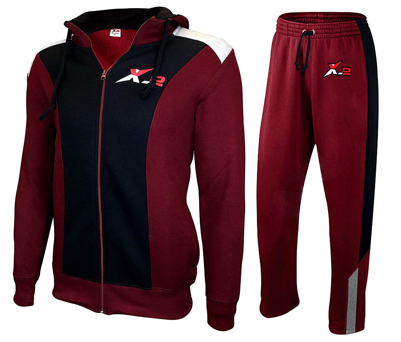 X-2 Mens Athletic Full Zip Fleece Tracksuit Jogging Sweatsuit Activewear Hooded Top