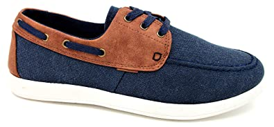 Men's canvas navy boat style deck shoe slip on with gusset summer holiday new