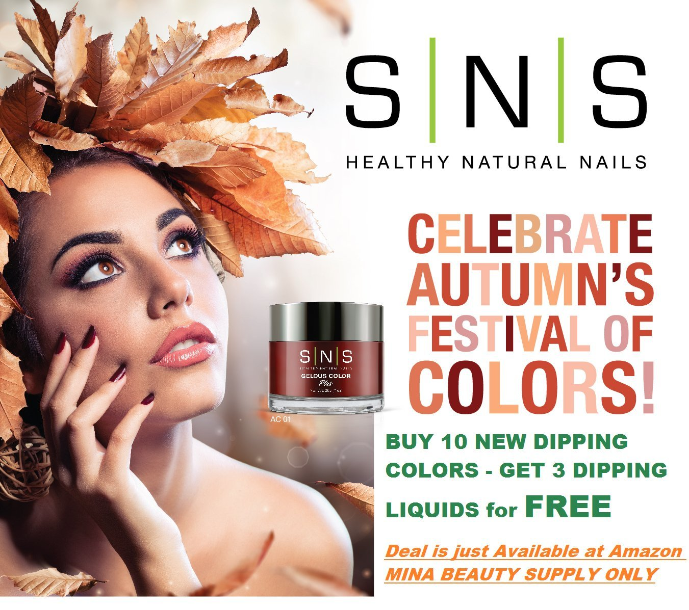 SNS Nail Dipping Powder Gelous Color Kits - Autumn Collection 2017 - FREE Mina Dip Gel Base, Gel Top and Activator