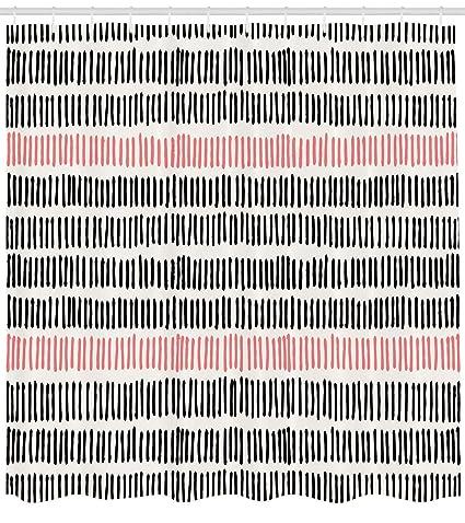 ABAKUHAUS Abstracto Cortina de Baño, Patrón Abstracto con Líneas Cortas Pizarra Arte Geométrico Simple Retro