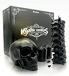 Skull & Spine Candle Set - Goth Gift Box for Realistic Occult Decor - Charming Scent & Free Moon Calendar - Black Candles for Spells, Ritual Magic, Healing, Witchcraft, Hoodoo or Spooky Decorations.