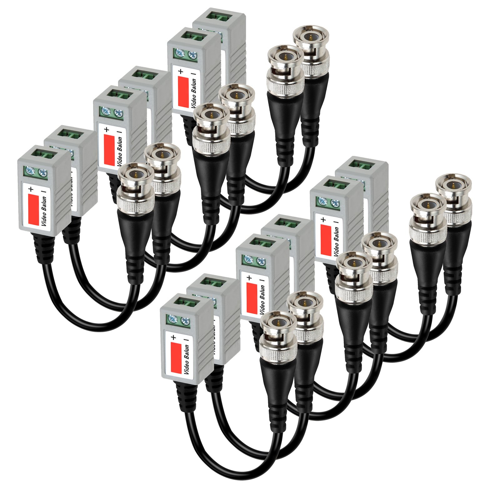 VIMVIP 6 PAIRS (12 Pcs) Mini CCTV BNC Video Balun Transceiver Cable