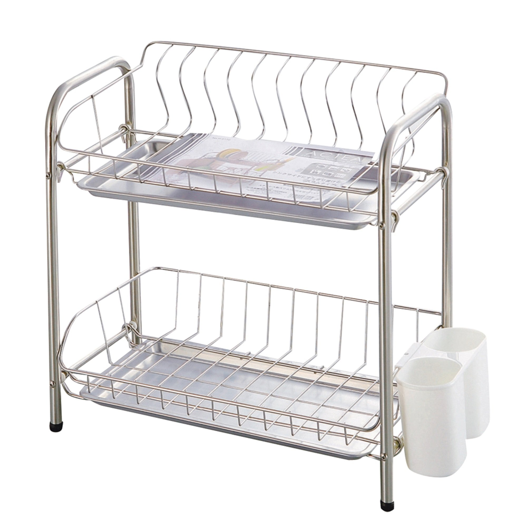 Parukinzoku Akutia stainless steel slim two-stage drainer basket H-6110