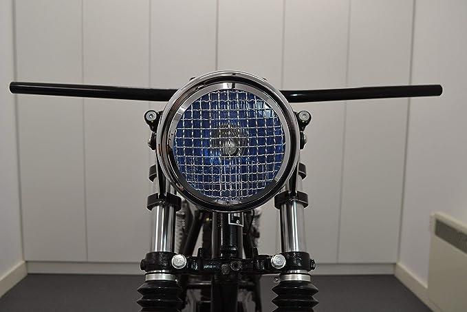 Chrom Motorrad Scheinwerfer 6 Inch Für Projekt Cafe Racer Retro Scrambler Netz Grill H4 55w Auto