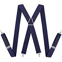 Mens Suspenders Braces Elastic Fully Adjustable Clip on Suspender, Great for Any Trouser, Jeans, Shorts
