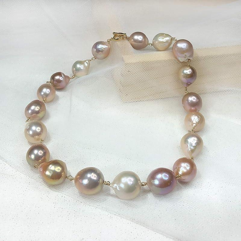 #1138 12-14 mm Large Hole Gray Baroque Pearl 2.2 mm Hole Rare Edison Pearl  Jumbo Baroque Pearl Genuine Freshwater Pearls