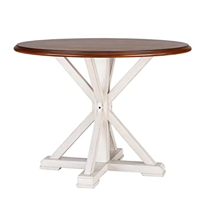 Amazon.com - Round Farmhouse Dining Table, Brown and White ...