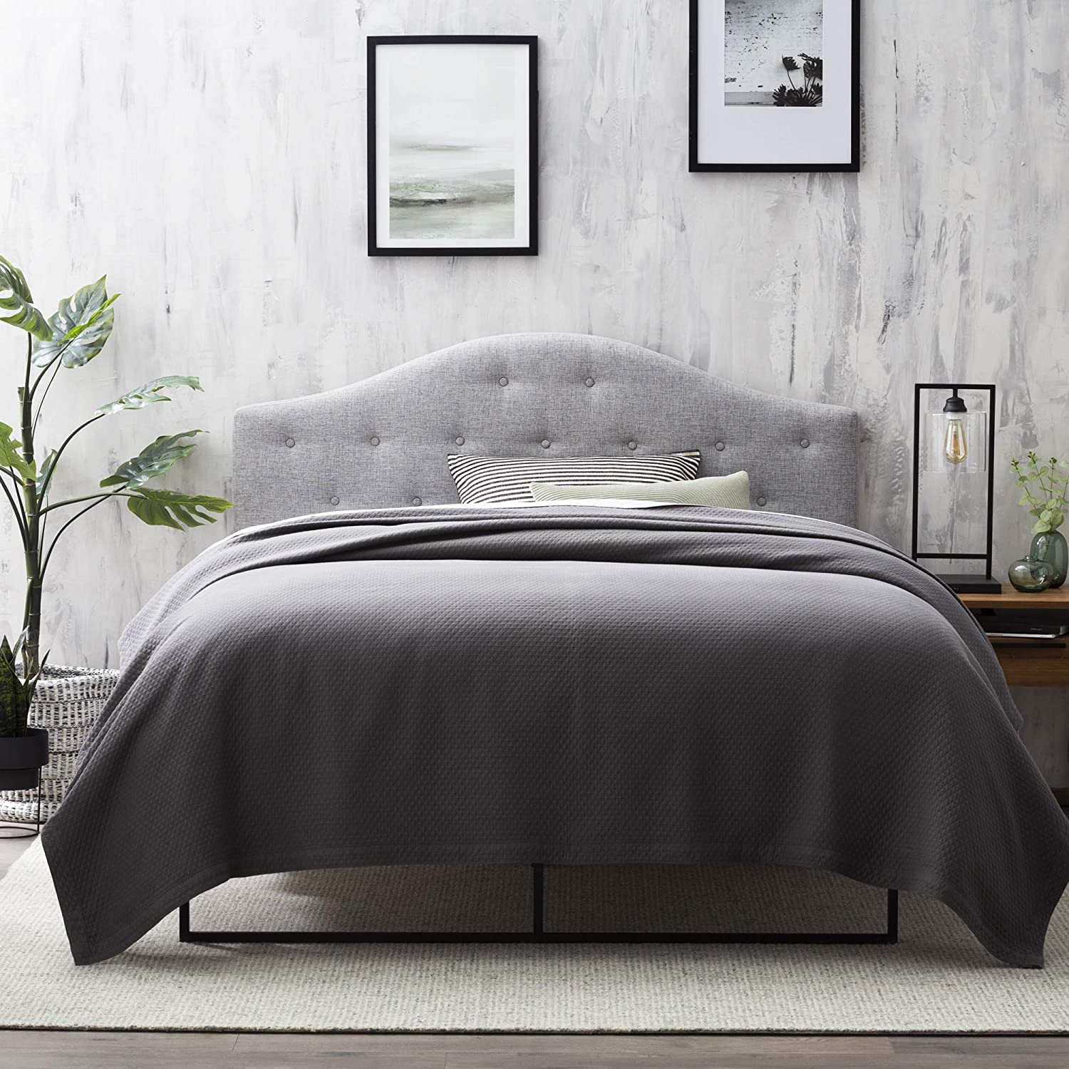 Everlane Home Legrand Upholstered Arched Headboard with Button Tufting, Queen, Pebble