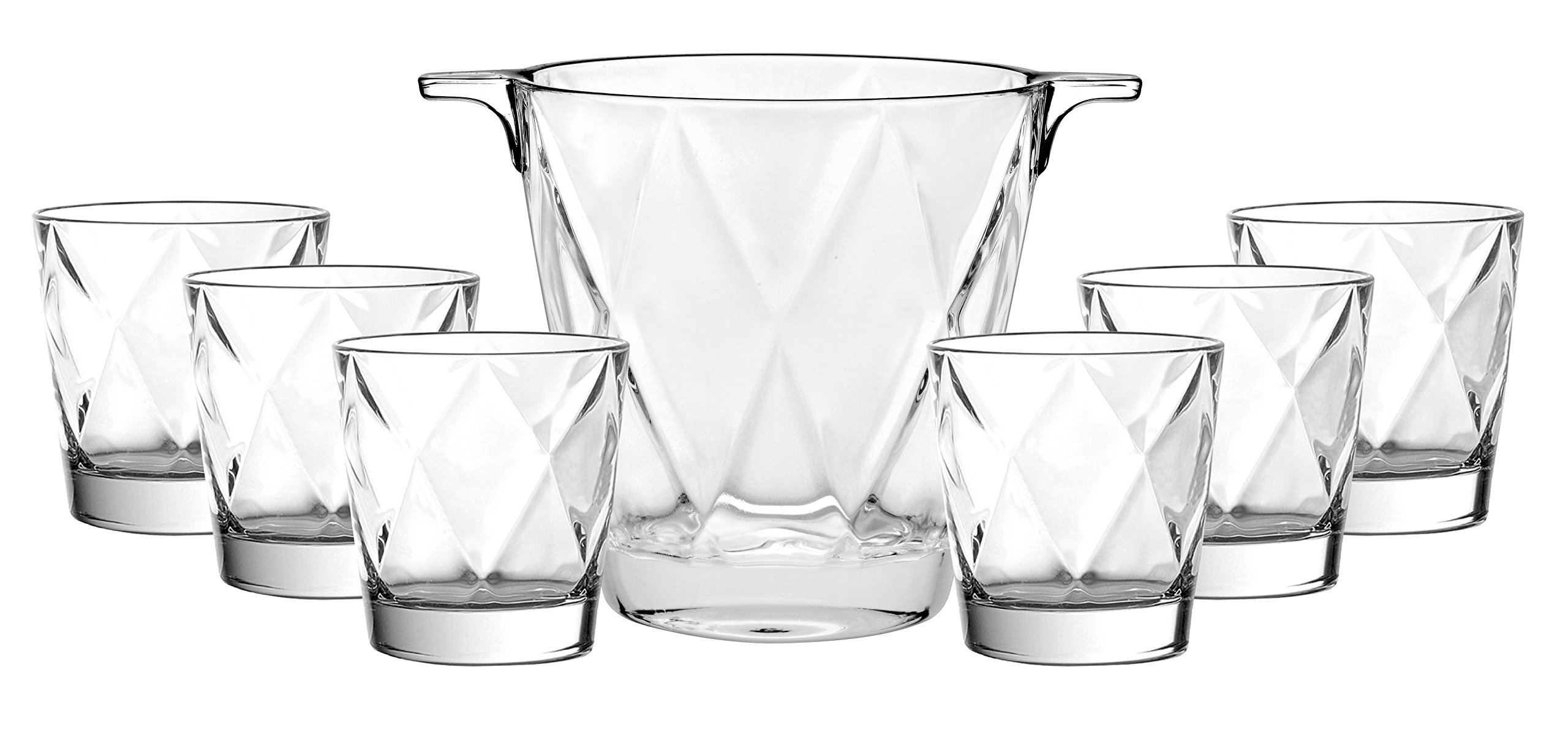 Barski - European Quality - 7 Piece Bar Set - for Whiskey - Wine - Liquer - Includes - Ice Bucket 5.9''H - 6 Pcs of 12.5 oz Double OF Tumblers - Superb Durable Glass - Gift Boxed - Made in Europe by Barski