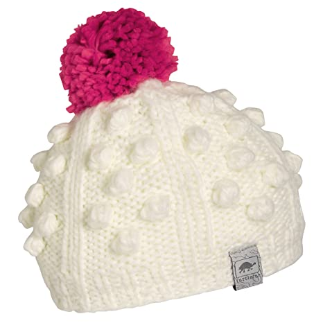 c61cdf62dc6 Turtle Fur Zola Girl s Chunky Hand Knit Fleece Lined Pom Winter Hat Ivory