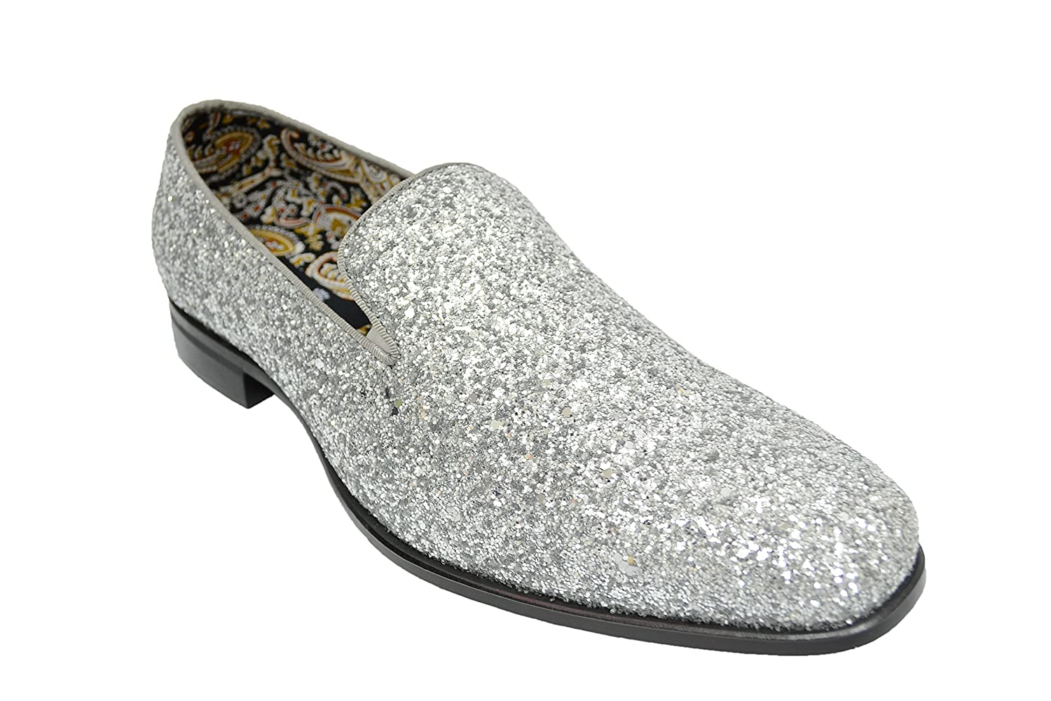 Men's Sparkly Glitter Shoes Silver Tuxedo Club Slip Ons 6683