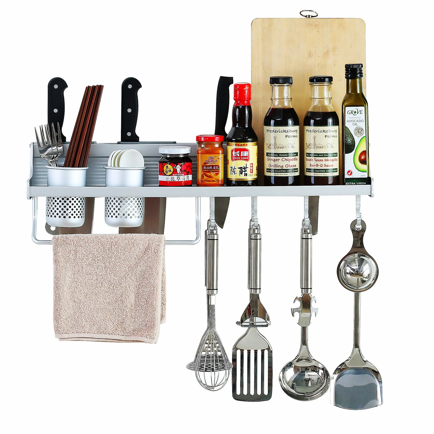 Pot Pan Kitchen Hanging Rack Wall Mount Cookware Holder Spices Sauce ...