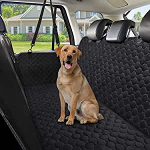 Dog Car Seat CoversWaterproof Scratch Proof Pet Seat Covers Dog Seat Covers for Back Seat w/ Mesh Window/ Side Flaps Convertible dog Hammock Durable Soft Seat Protector for Cars Trucks & SUVsBlack