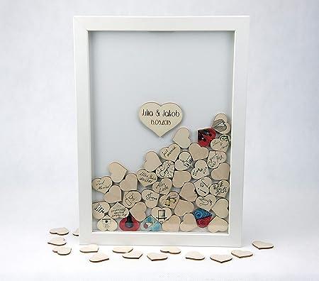 Gastebuch Hochzeit Bilderrahmen Holz Zwei Herz Personalisierbar