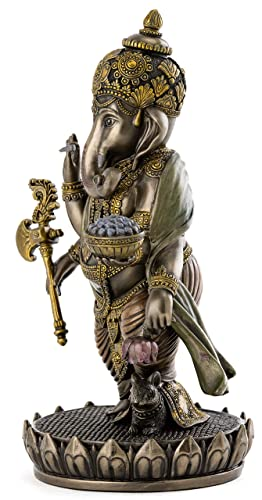 Top Collection Ganesh Statue – Lord of Success Ganesha Hindu God Sculpture in Premium Cold Cast Bronze – 7.6-Inch Collectible New Age Figurine