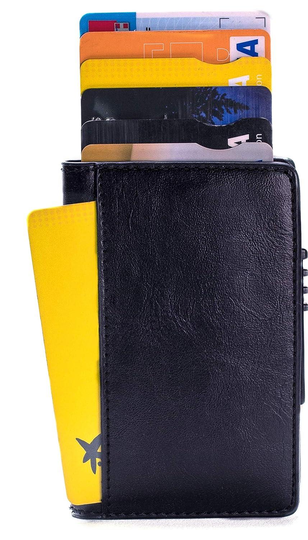 Tarjetero RFID Cartera Inteligente Cuero y Aluminio, Porta Tarjetas crédito Pequeña Cómoda Bolsillos Pop up Elegante SIN botón Cierre con imanes Ideal para ...