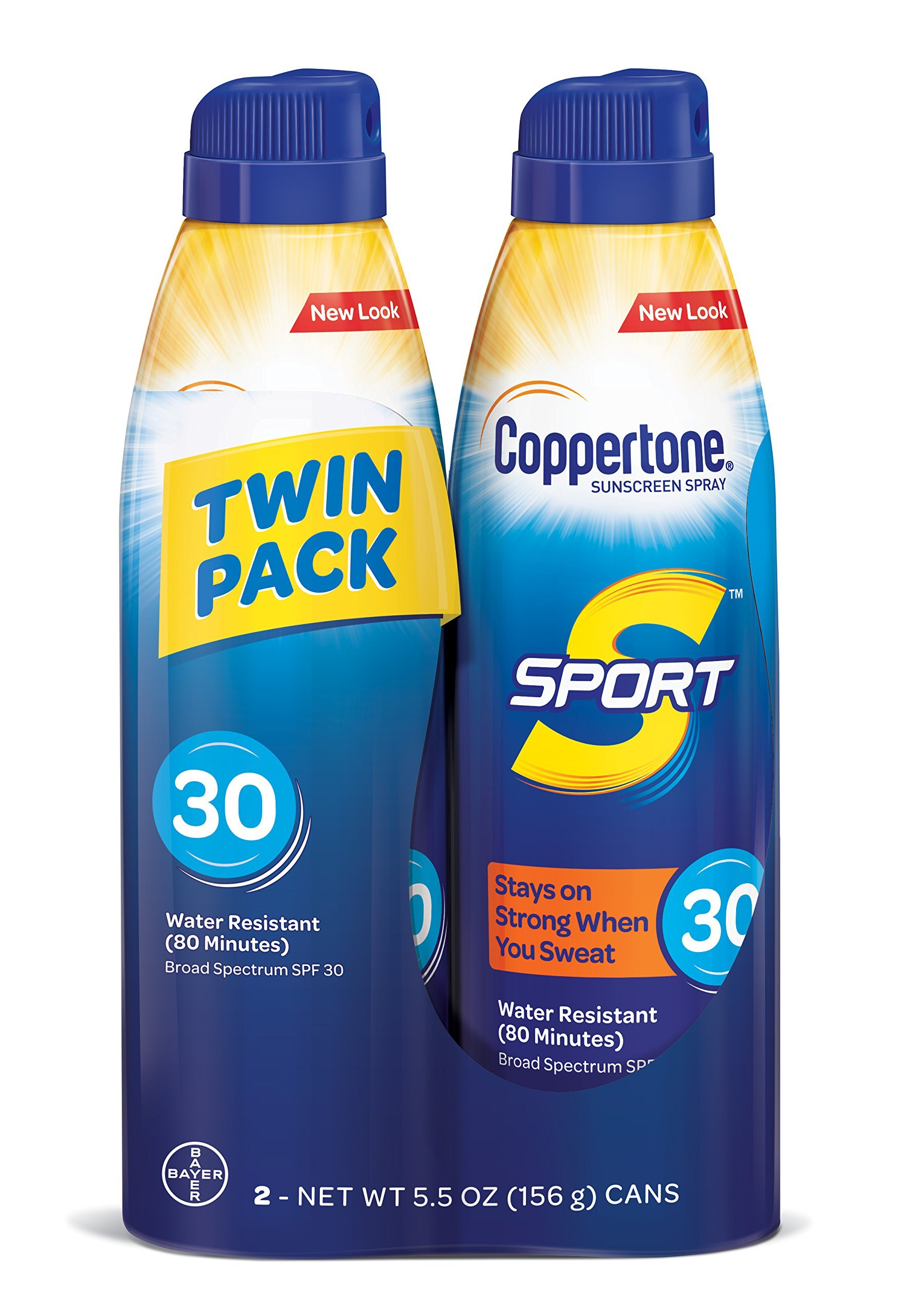 Coppertone SPORT Continuous Sunscreen Spray Broad Spectrum SPF 30 (5.5-Ounce Bottle, Twin Pack)