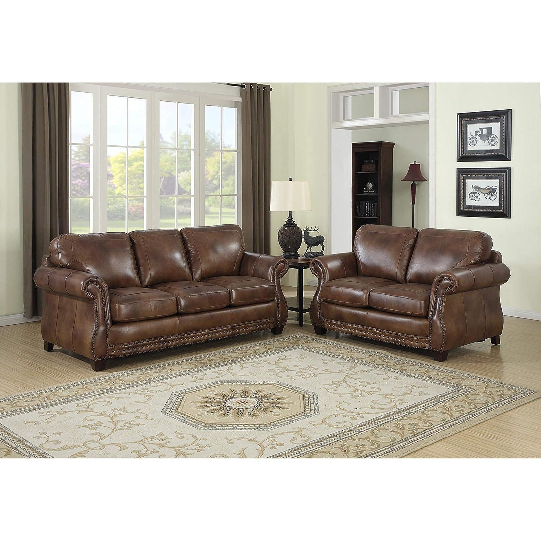 Amazon.com: Sofaweb.com Sterling Cognac Brown Italian Leather Sofa ...