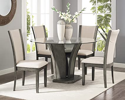 Roundhill Furniture D051GY Kecco Grey 5 Piece Glass Top Dining Set, Table 4  Chairs