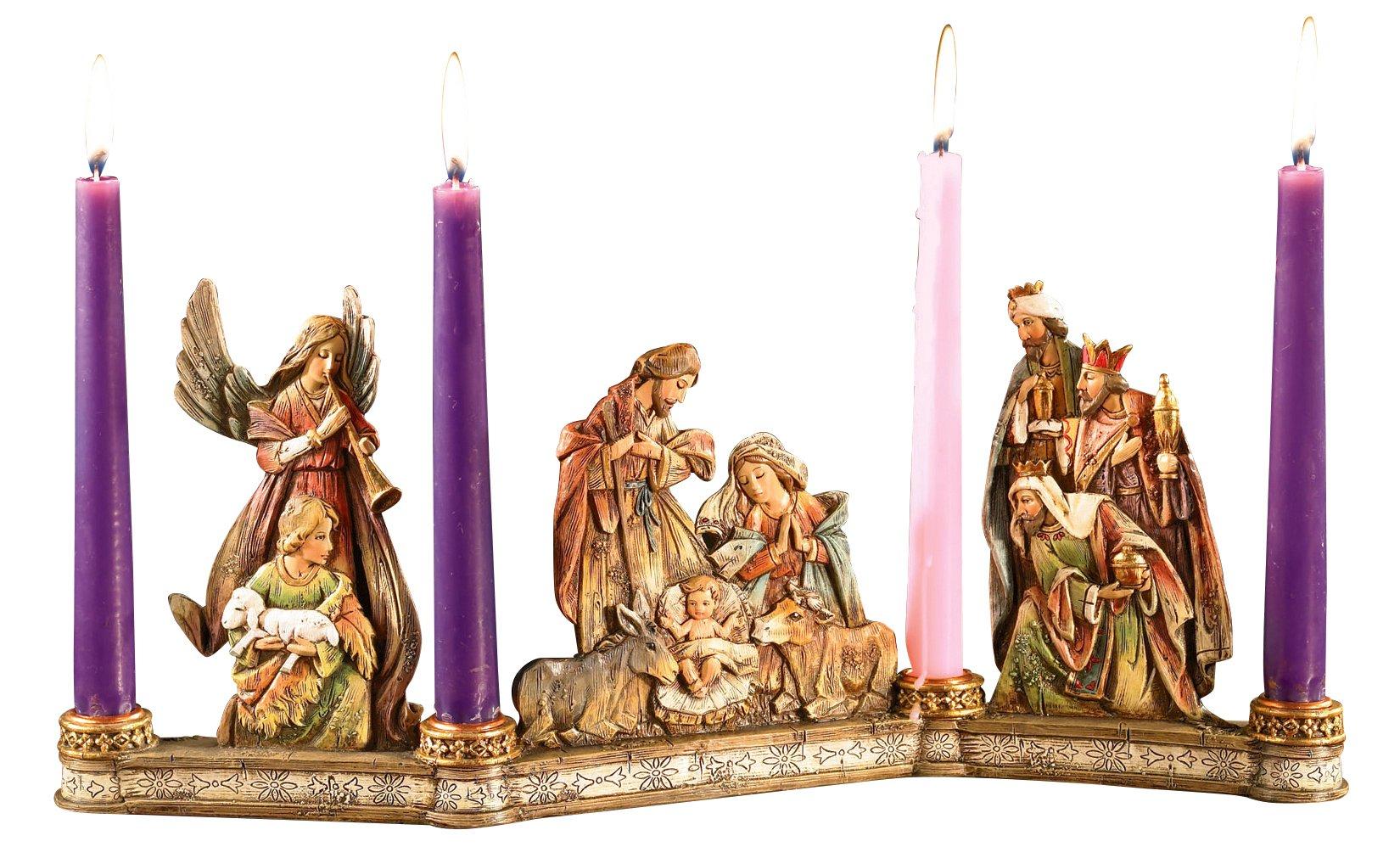 Avalon Gallery Advent Candleholder, Holy Family Nativity Scene by CB Gift