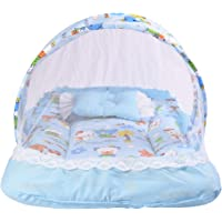 Babloo Toddler Mattress with Mosquito Net for Baby (0-6 Months, Blue)