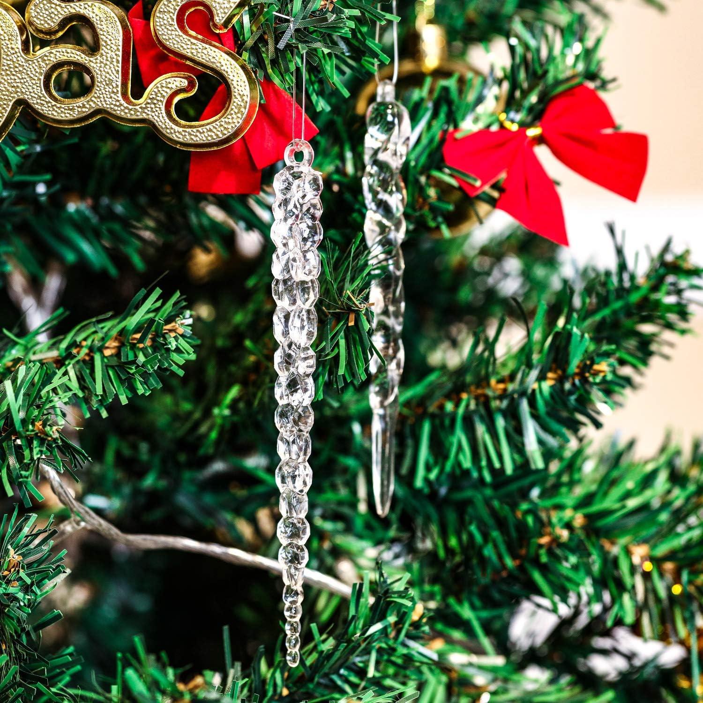 THE TWIDDLERS 40 D/écorations Stalactites de No/ël Ornement Inclut des Flocons de Neige Stalagmites D/écor Parfait pour Les Sapins de Xmas ou Les Fen/êtres Formes de Gouttes d/'Eau