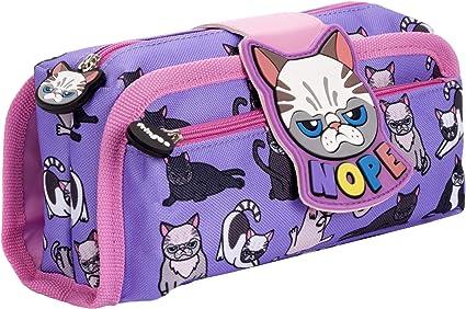 FRINGOO - Estuche para lápices con 2 compartimentos con cremallera para niños, color Nope Gato: Amazon.es: Oficina y papelería