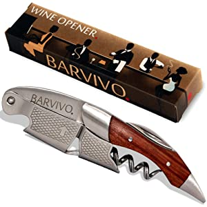 Barvivo Professional Waiters Corkscrew This Wine Opener is Used to Open Beer and Wine Bottles by Waiters, Sommelier and Bartenders Around The World. Made of Stainless Steel and Natural Rosewood.