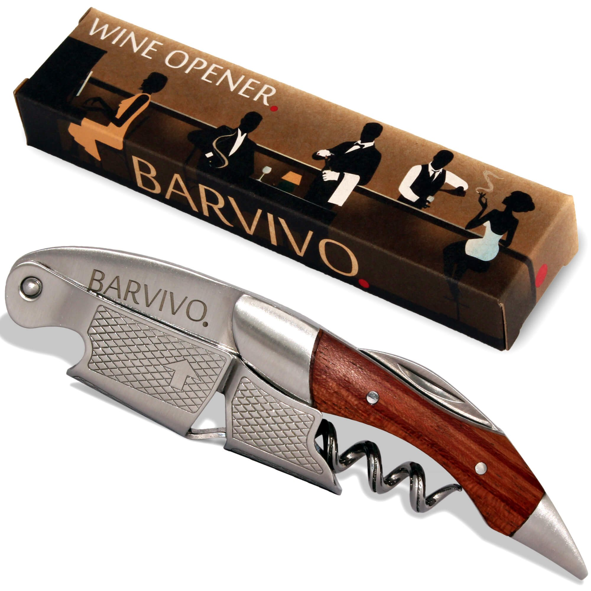 Professional Waiters Corkscrew by Barvivo - This Wine Opener is Used to Open Beer and Wine Bottles by Waiters, Sommelier and Bartenders Around the World. Made of Stainless Steel and Natural Rosewood.