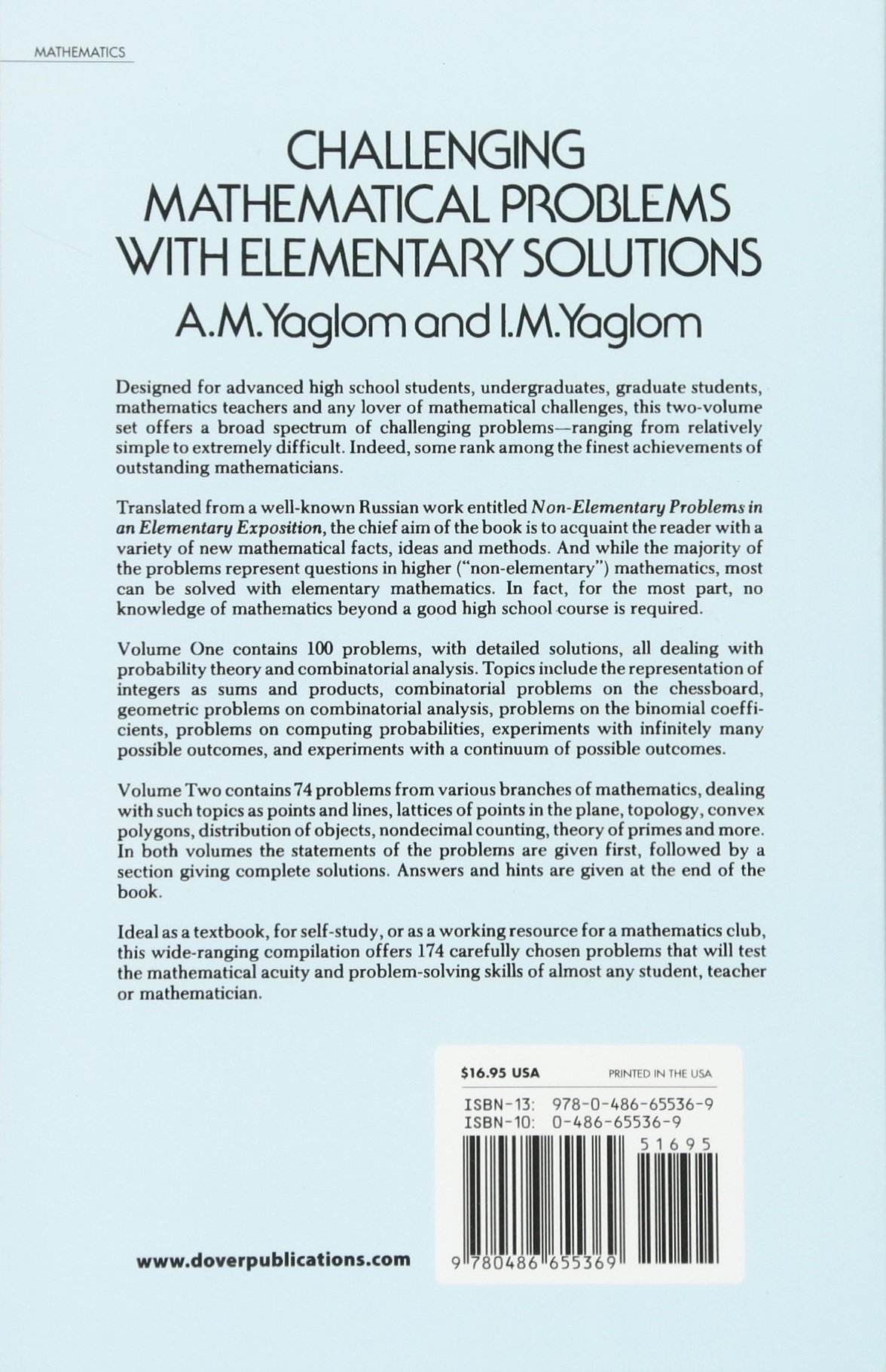 Challenging Mathematical Problems With Elementary Solutions, Vol. 1 ...