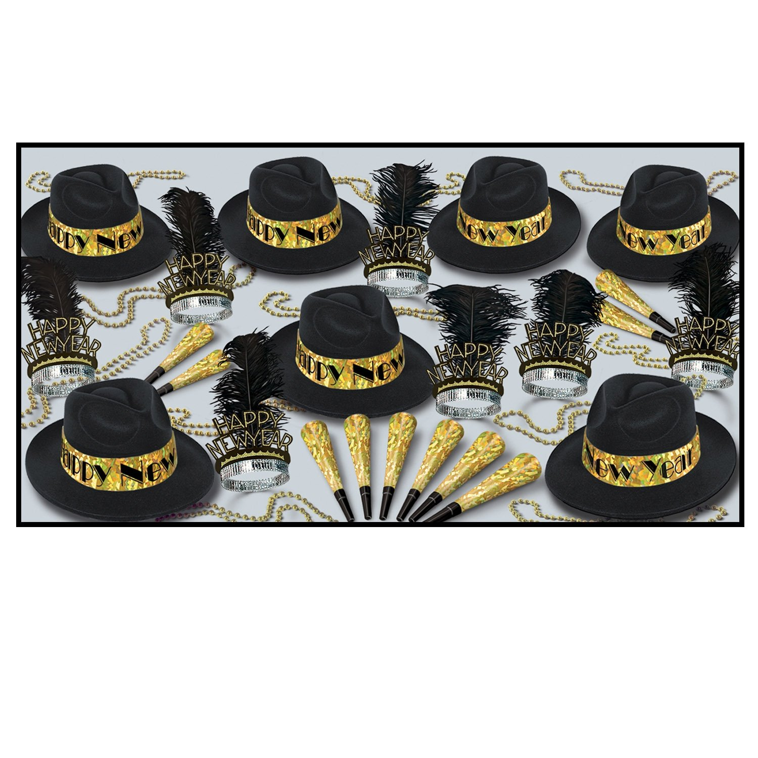 Swingin' Gold Asst for 50 (black & gold) Party Accessory  (1 count)
