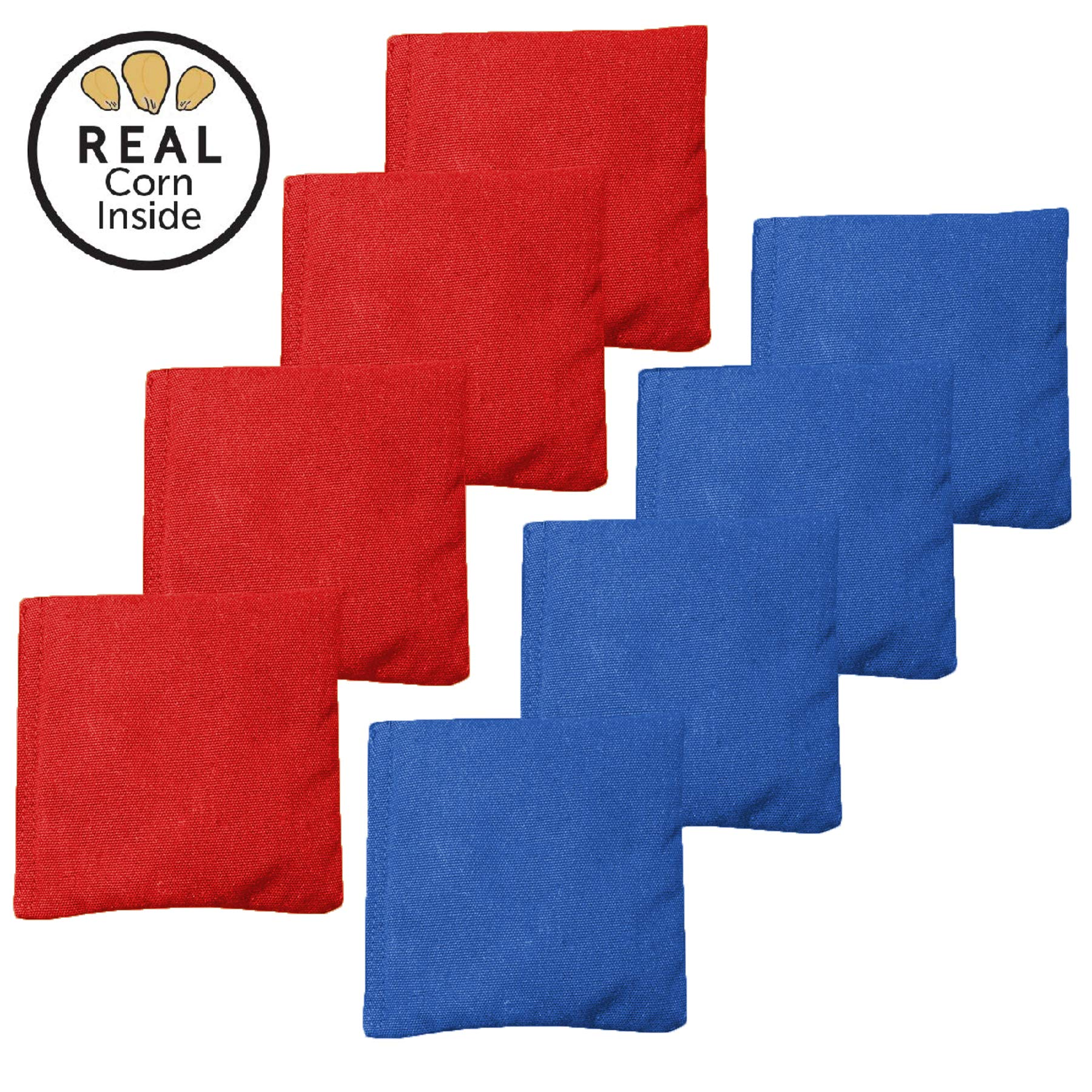 Real Corn Filled Cornhole Bags - Set of 8 Bean Bags for Corn Hole Game - Regulation Size & Weight - Red and Blue