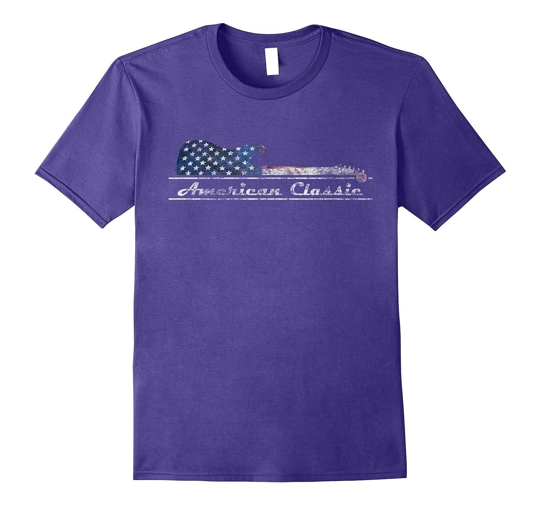 American Classic Guitar T Shirt Patriotic USA Flag-PL