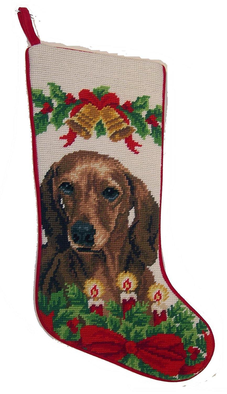 Red Smooth Coat Dachshund Dog Needlepoint Christmas Stocking