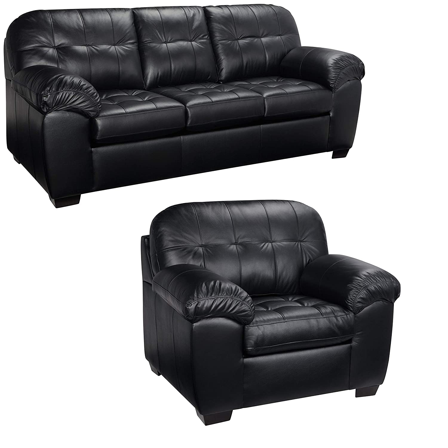 Amazon.com: Black Italian Leather Sofa and Chair Set - This Living ...