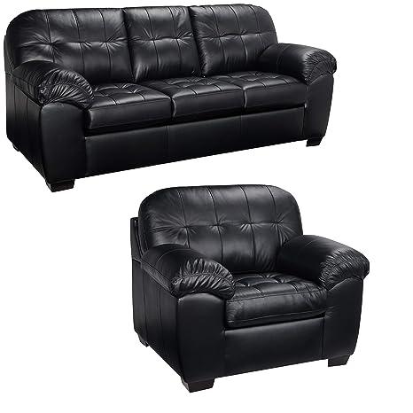 Amazon Com Black Italian Leather Sofa And Chair Set This Living