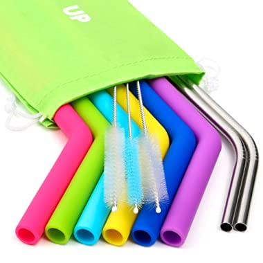 Big Silicone Straws for 30 oz Tumbler Yeti/Rtic Complete Bundle - Reusable Silicone Straws Set of 6 - Stainless Steel Straws Extra Long - Brushes and Storage Pouch Included
