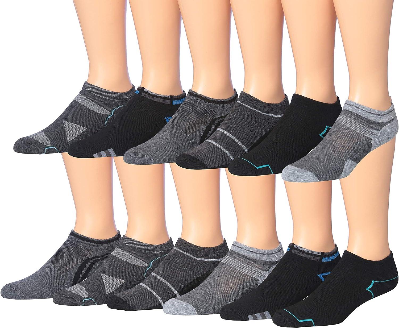 James Fiallo Men's 12-Pairs Performance Low Cut Athletic Sport Socks