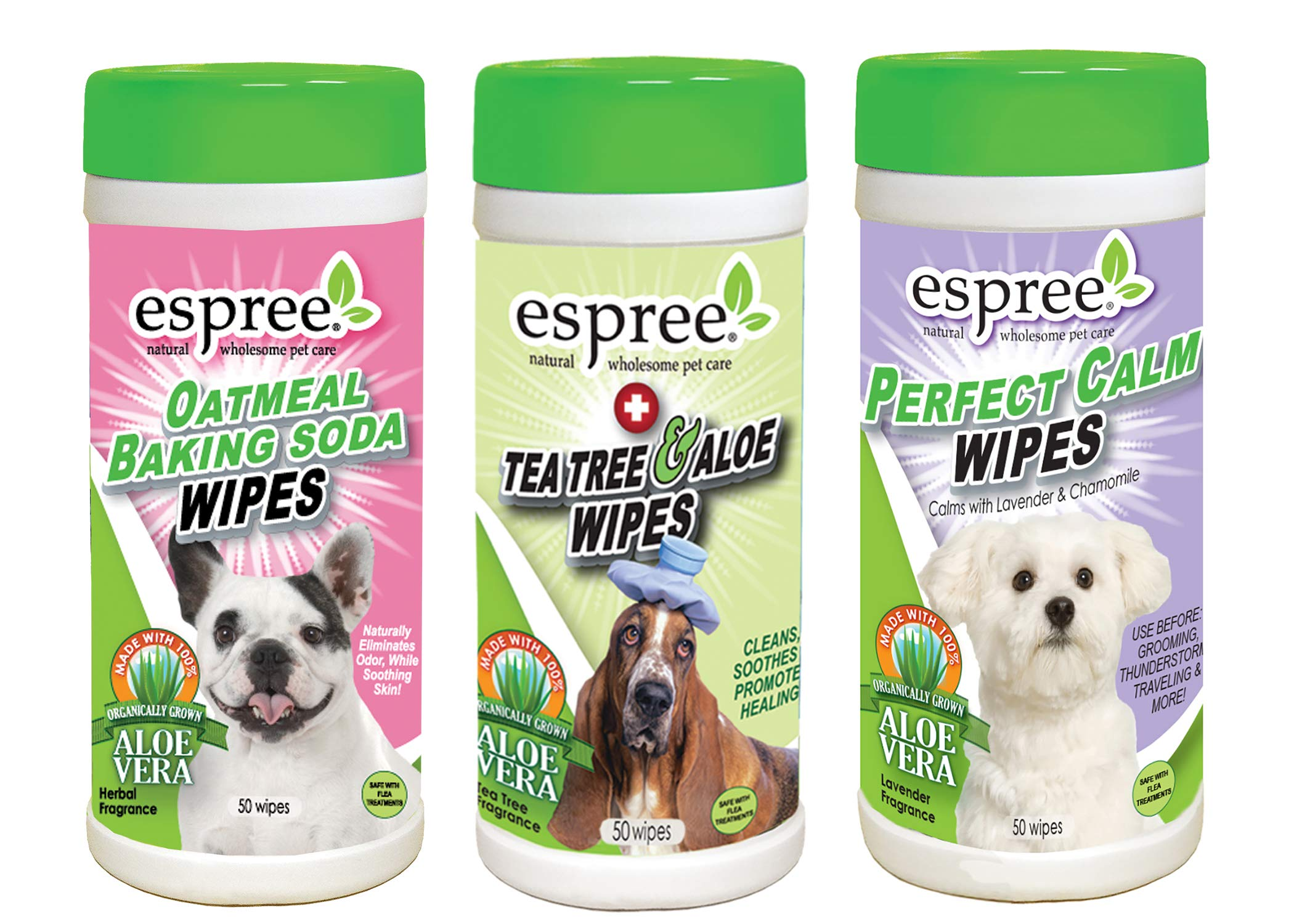 Espree Pet Wipe Variety Pack of Oatmeal, Lavender and Tea Tree 50 Count Each