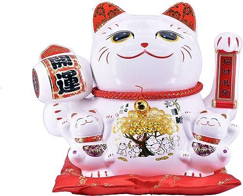 Chinese Feng Shui White Lucky Waving Cat Figure with Moving Arm Maneki Neko Waving Fortune Cat