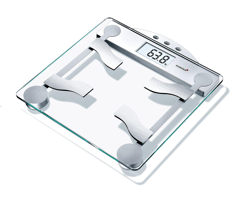 Korona KFW 8077 Báscula de baño con indice de grasa corporal, escala hasta 150 kg, intervalos en gramos 100, transparente y plateado: Amazon.es: Salud y ...