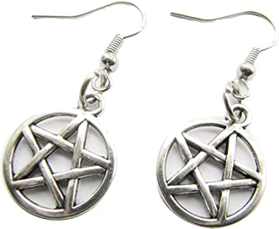 Wicca Pentagram Earrings Wiccan Pagan