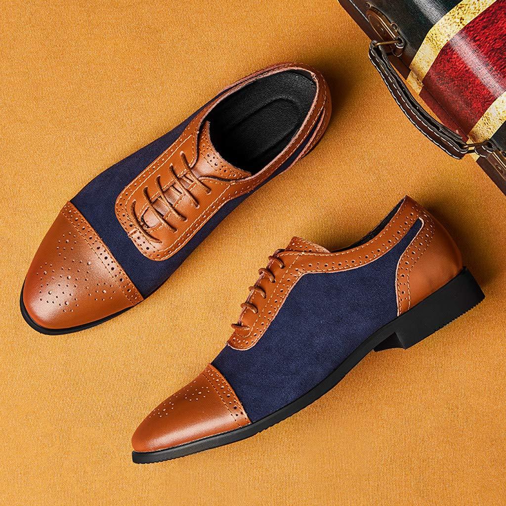 Shusuen Men's Oxford Lace-Up Dress Shoes Casual Lightweight Loafers Slip on Blue by Shusuen