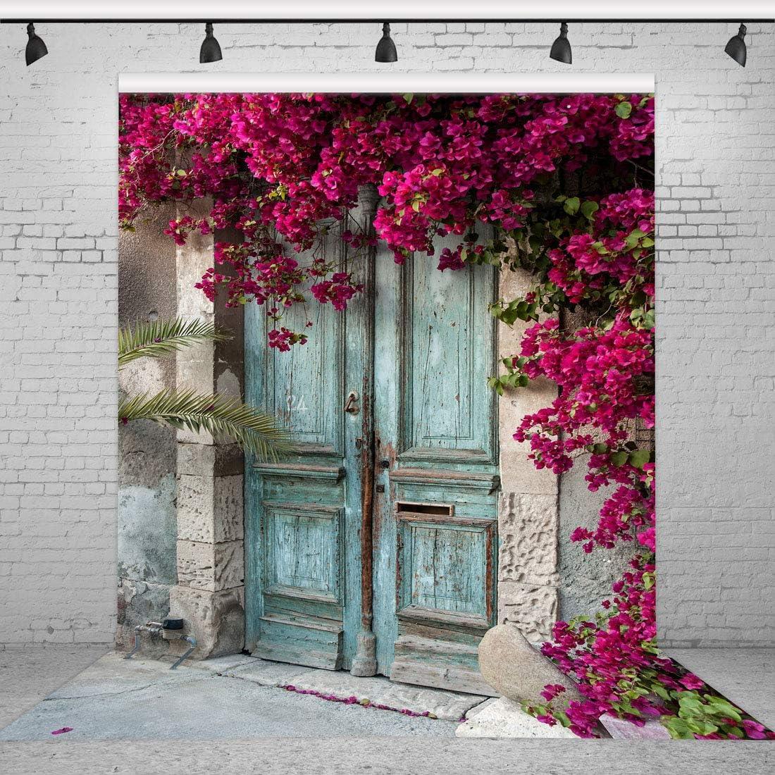 Riyidecor Vintage Blue Wood Door Backdrop Purple Flowers 5x7 Feet Spring Nature House Plant Romantic Wedding Scene Photography Background Adult Party Decor Props Photo Shoot Vinyl Cloth