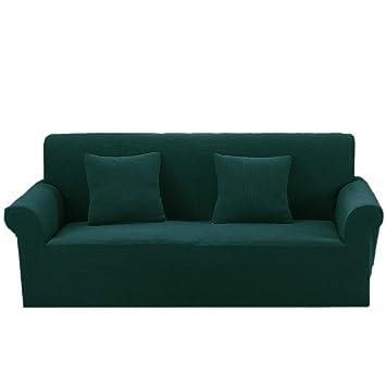 Argstar Premium Knit Sofa Slip Cover for 3 Seat Couch Jacquard Slipcover  Dark Green Furniture Protector
