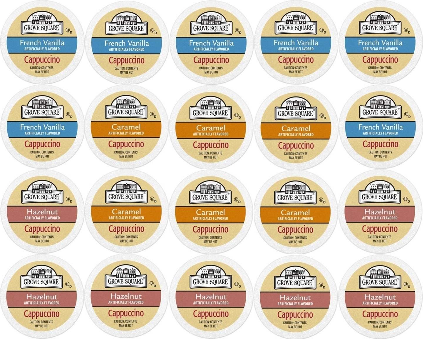 20-count Single Serve Cups for Keurig K-Cup Brewers Grove Square Cappuccino Variety Pack Featuring French Vanilla, Hazelnut, and Caramel Cups